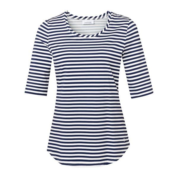 Maritimes Shirt mit gestreiftem Muster in Dunkelblau Weiß von JUST WHITE