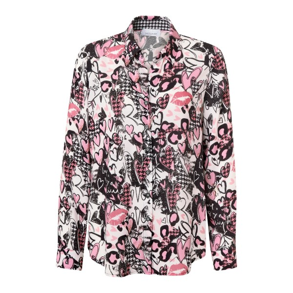 Lockere Langarm Bluse mit Allover Print von JUST WHITE